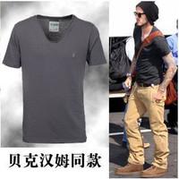 free shipping beckham t-shirt men solid color V-neck short-sleeve men's clothing plus size summer vintage fashion shirt