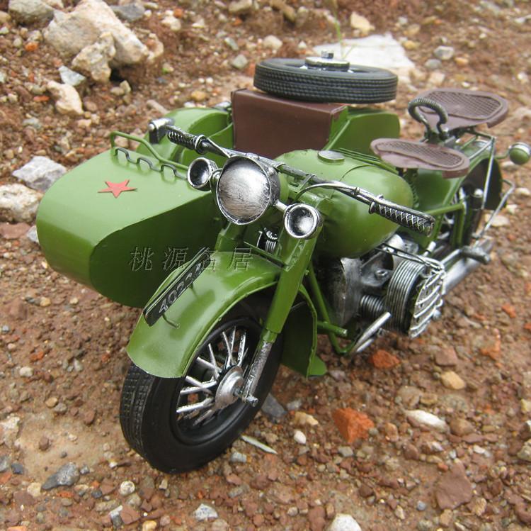 Handmade Vintage Army Green Tricycle Motorcycle Model Metal Car Models(China (Mainland))