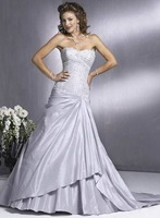 New Beading  Strapless Custom Made Ruched Taffeta  Bridal Gown Wedding Dress