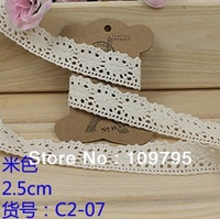 Retail 2.5cm Width, 20 meters/lot Cotton Lace Natural Crocheted Lace Trims Beige Lace Ribbon Free Shipping