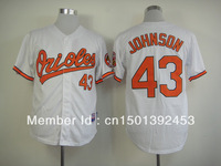 Free Shipping 2013 New Brand Men's Baseball Jerseys Baltimore Oriole #43 Jim Johnson Cool Base Jersey, Embroidery Logos