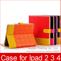 100pcs Wholesale Luxury Leather Case Cover for iPad 2 the new iPad iPad 4  Case with Stand Pu case Free Fedex