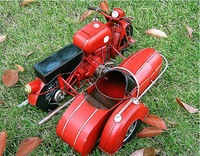 Vintage handmade motorcycle tricycle iron sheet motorcycle model decoration gift home