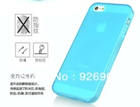 Soft Ultra Thin Scrub TPU Matte Frosted Transparent Flexible Cover Case Skin with Dust plug For iPhone 5 5S Wholesale 20pcs/lot
