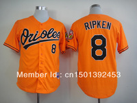Free Shipping 2013 New Beand Men's Baseball Jerseys Baltimore Orioles #8 Cal Ripken Orange Cool Base Jersey, Embroidery Logos