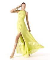 2013 Newest On Sale Luxury Halter Sparkle Sequined Bodice Front Split Pleat Yellow Prom Evening Party Dress Custom Made