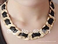 2013 New Fashional Trendy Golden Metal Classic Black Ribbon Chain Women Ladies Short Necklace Choker Free Shipping Wholesale