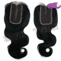 Cheap full lace closure piece NATURAL COLOR can be dyed wave 4x4 top wig closure virgin hair closure