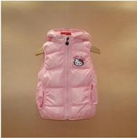 5pcs/lot-2013 new winter hellokitty girls hooded cotton vest, Girls' cartoon the Waistcoat Updated Quality