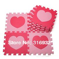 WM018 High qualiity Heart (pink+rose) eva puzzle foam baby play mat, 10pcs/set
