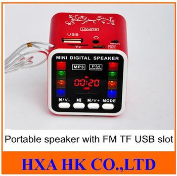 New LCD Digital Media USB TF card Mini Speaker Best quality with FM HX-678, portable mini usb sound box loudspeaker