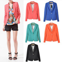 Free Shipping Newest Fashion Women Candy Color Basic Slim Foldable Casual Suit Jacket For Juniors Blazer XS S M L 6 Colors