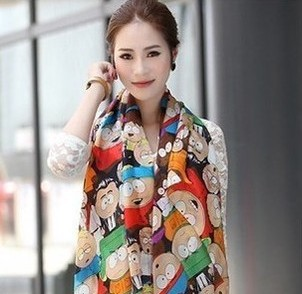 Free shipping 2013 New Novel Women Cartoon Figure fashion silk scarf  woman cape South Park velvet chiffon scarves(Min order=$10