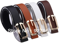 "Free Shipping 9 Colors  Unisex Hot Fashion chic 6 color Leather ""G"" Buckle Waist Belt Waistband"