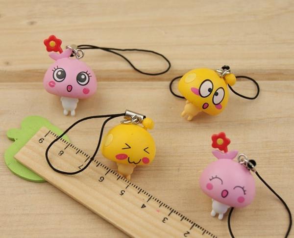 Hot-selling cartoon mobile phone chain mushroom dot 4 keychain dust plug(China (Mainland))