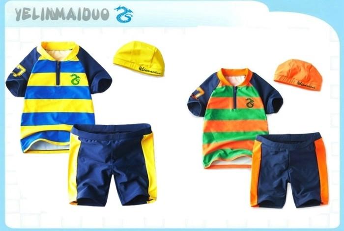 Navy stripe infant baby boy style child split swimwear , y71068-b(China (Mainland))