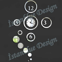 FREE SHIPPING Mirror wall stickers clock fashion 2013 circle clocks fashion personalized gifts