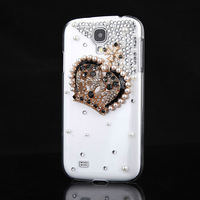 Cute For Samsung Galaxy S4 i9500 Bling Diamond Gold Crown Clear Back Case Cover
