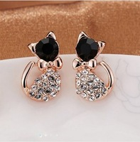 MIX $10 New Fashion Cute Lovely Rinestone Simulated  Decorated Cat Litty Stud Earrings for Women Party Birthday Earring Jewelry