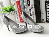 Women's summer Asakuchi rhinestones white multicolor fish head waterproof Taiwan high-heeled wedding shoes free shipping  9CM