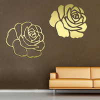 FREE SHIPPING Fashion tv background wall mirror crystal three-dimensional wall stickers mirror rose