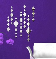FREE SHIPPING Home decoration diy mirror wall stickers tv crystal mirror rhombus windbags