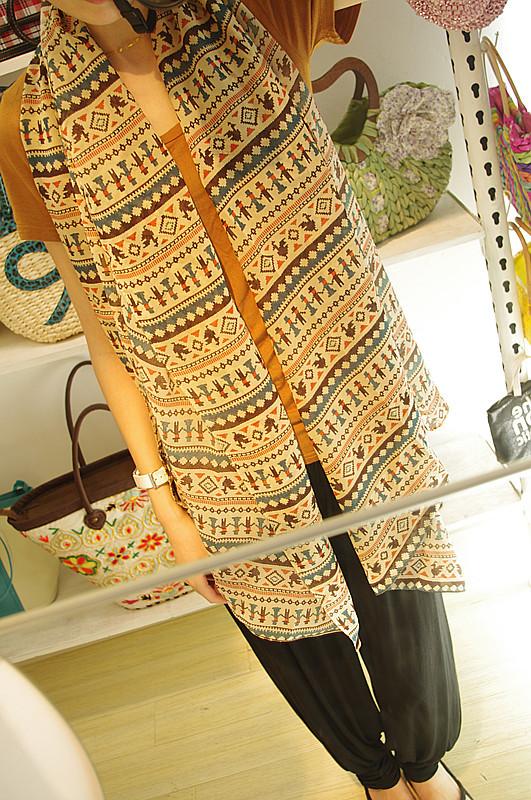 Женский шарф 2013 Women Fashion Chiffon Carton Khaki Scarf Female condition wrap 1 pc