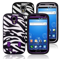 DHL free shipping Zebra skin 2 in 1 PC+Silicon hybrid hard shockproof case for Samsung Galaxy SIV i9500 S4 50 pcs/lot