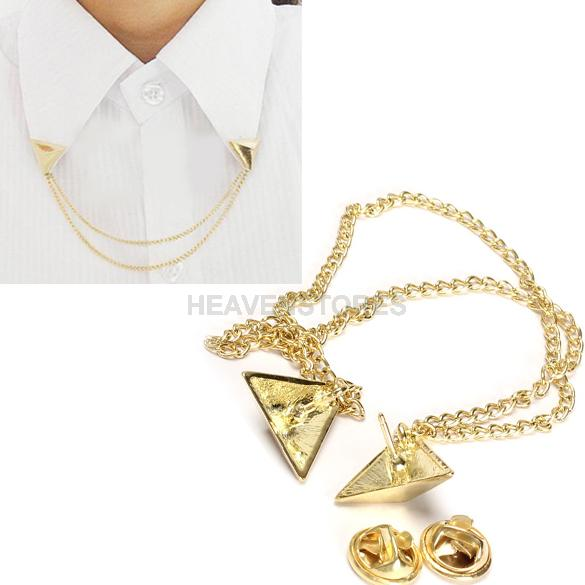 Hot Spike Stud Blouse Shirts Collar Neck Tip Brooch Pin Chain Punk hv3n(China (Mainland))