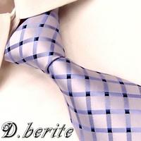 G328 Light Blue Silver Checked 100%Silk Jacquard Classic Woven Man's Tie Necktie