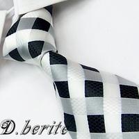 G293 White Black Checked 100%Silk Jacquard Classic Woven Man's Tie Necktie