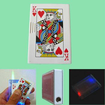 Fun&Gifts Flash Casino Poker R Heart King Card Slide Jet Lighter The Red King Lighter 5Pcs/lot Free shipping