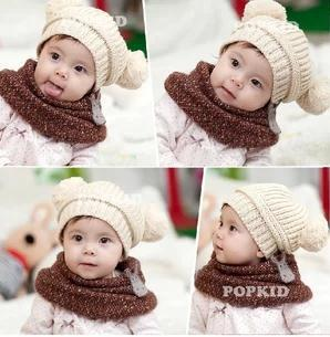 High Quality 3 pcs/lot Beige Winter Baby Hat knit Love Dual Ball Girls/Boys Sweater Cap Warm Winter Infant Hat CH006