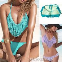 2014 Sexy Women Tassel Push Up Padded Boho Fringe Top Bikini Swimwear Swimsuit Set Bathing Suit S M L Free Shipping 5 Color 5312