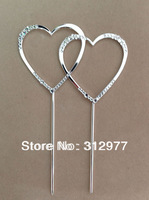 Free Shipping 30pcs/lots Small Double Heart with Rhinestone Crystal Wedding Cake Topper Cake Jewelry