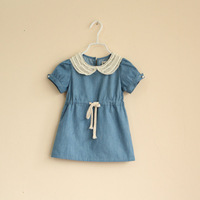 Children's clothing summer dress 100% girl's cotton thin denim lace pearl