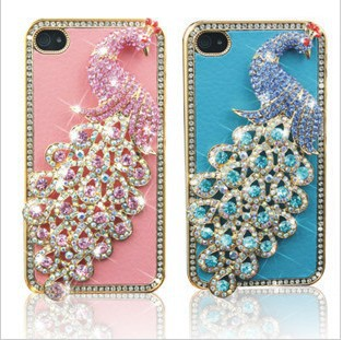 3D Bling Diamond Crystal Peacock Leather Back Case Cover Skin For iPhone 5 5G