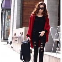 f2013 women's thin cardigan long design shoulder width plus size outerwear sweater top wholesale