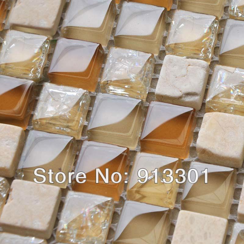 stone glass random blend mosaic tiles discount kitchen backsplash tile