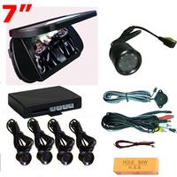 Hottest 4 Sensor Reversing Kit with Camera & New 7 TFT LCD Mirror Monitor Wholesale Fashion Video Parking Sensor