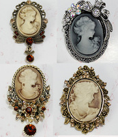 4 pcs/lot  Vintage Floral Embossed Bow Cameo Pin/Brooch, Free shipping AB001