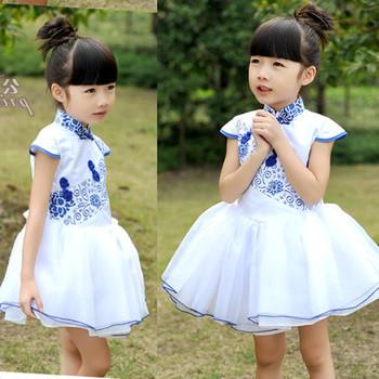 2013 female child fresh sweet one-piece dress cheongsam blue and white porcelain female child princess dress children's clothing