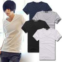 Men's summer V-neck all-match T-shirt, 100% cotton t-shirt for men(ss-39)
