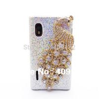 Bling Rhinestone Peacock White and Black  Back Case Cover for LG Optimus L5 E610 E612