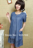 Maternity  Summer Wear Pregnant Mommy Cotton Denim Dress