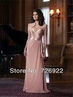 2013 Hot! Custom Made Floor Length Beaded Pink Tall Mother Of The Bride Dress With Bolero Jacket