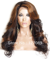 Free Shipping heat resistant synthetic lace front wig 16/18/20/22/24/26 inch #4/27 mix color