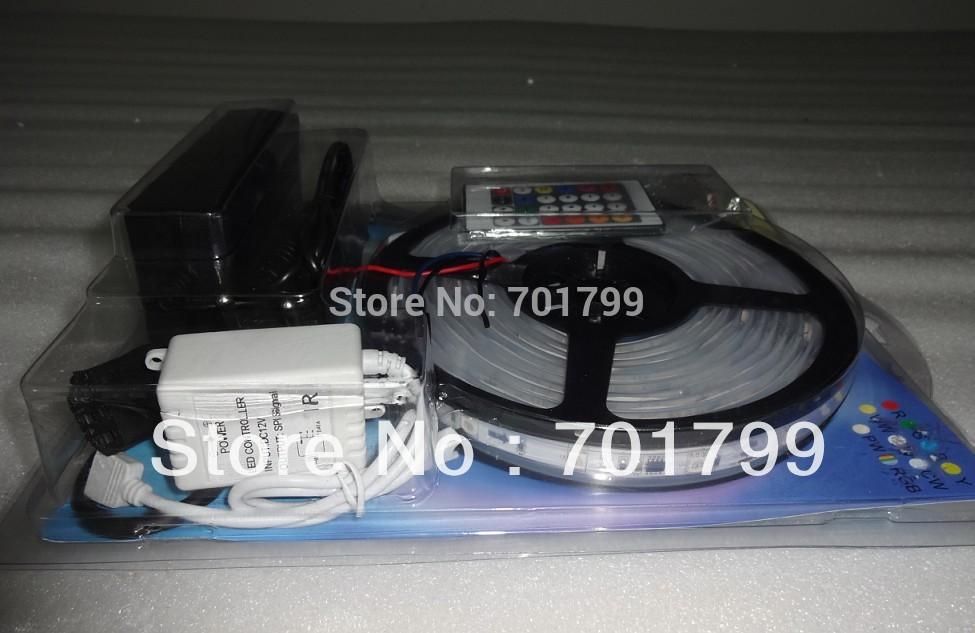 5m 30leds/m(10pixels) DC12V IP66 WS2811 PIXEL strip light+24keys IR WS2811 pixel controller+powe adaptor(China (Mainland))
