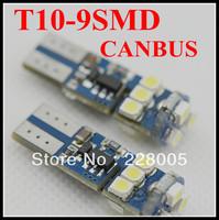 10pcs white T10 9SMD 1210 canbus led bulb , auto led bulb canbus function, warning canceller auto led bulb led lamp t10 12v