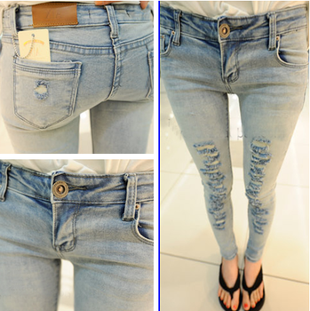 2013 light color hole denim pencil pants slim skinny pants n25  (Free shipping)